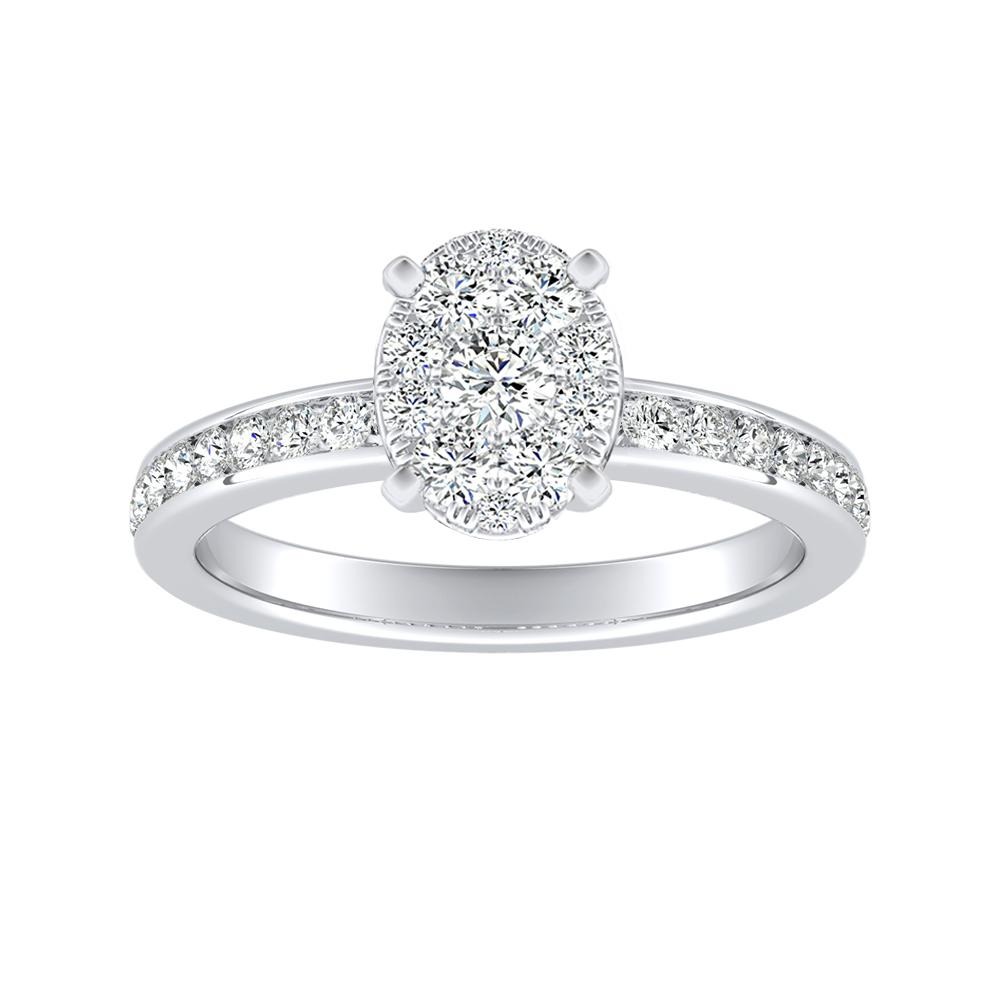 ALENA Classic Diamond Engagement Ring In 14K White Gold With Oval Diamond In H-I SI1-SI2 Quality