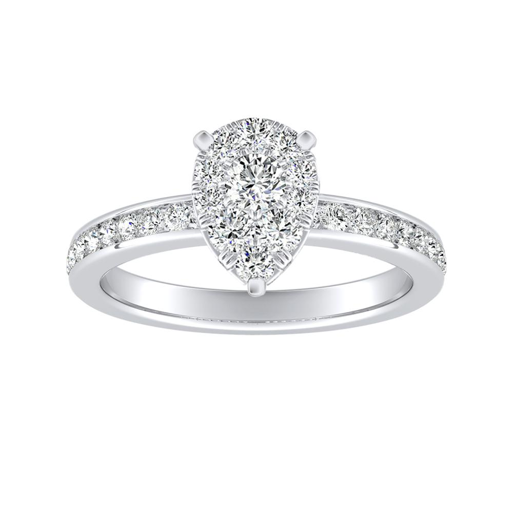 ALENA Classic Diamond Engagement Ring In 14K White Gold With Pear Diamond In H-I SI1-SI2 Quality
