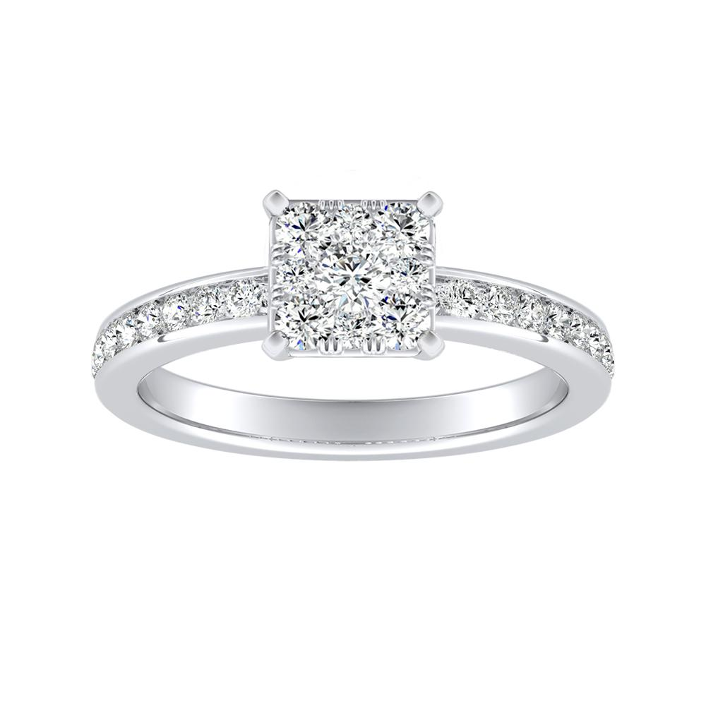 ALENA Classic Diamond Engagement Ring In 14K White Gold With Princess Diamond In H-I SI1-SI2 Quality