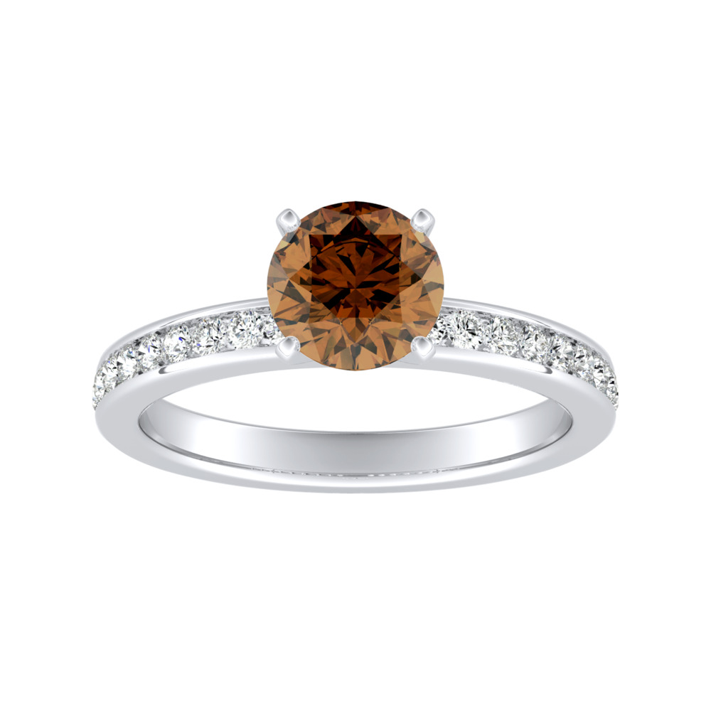 ALENA Classic Brown Diamond Engagement Ring In 14K White Gold With 0.30 Carat Round Diamond