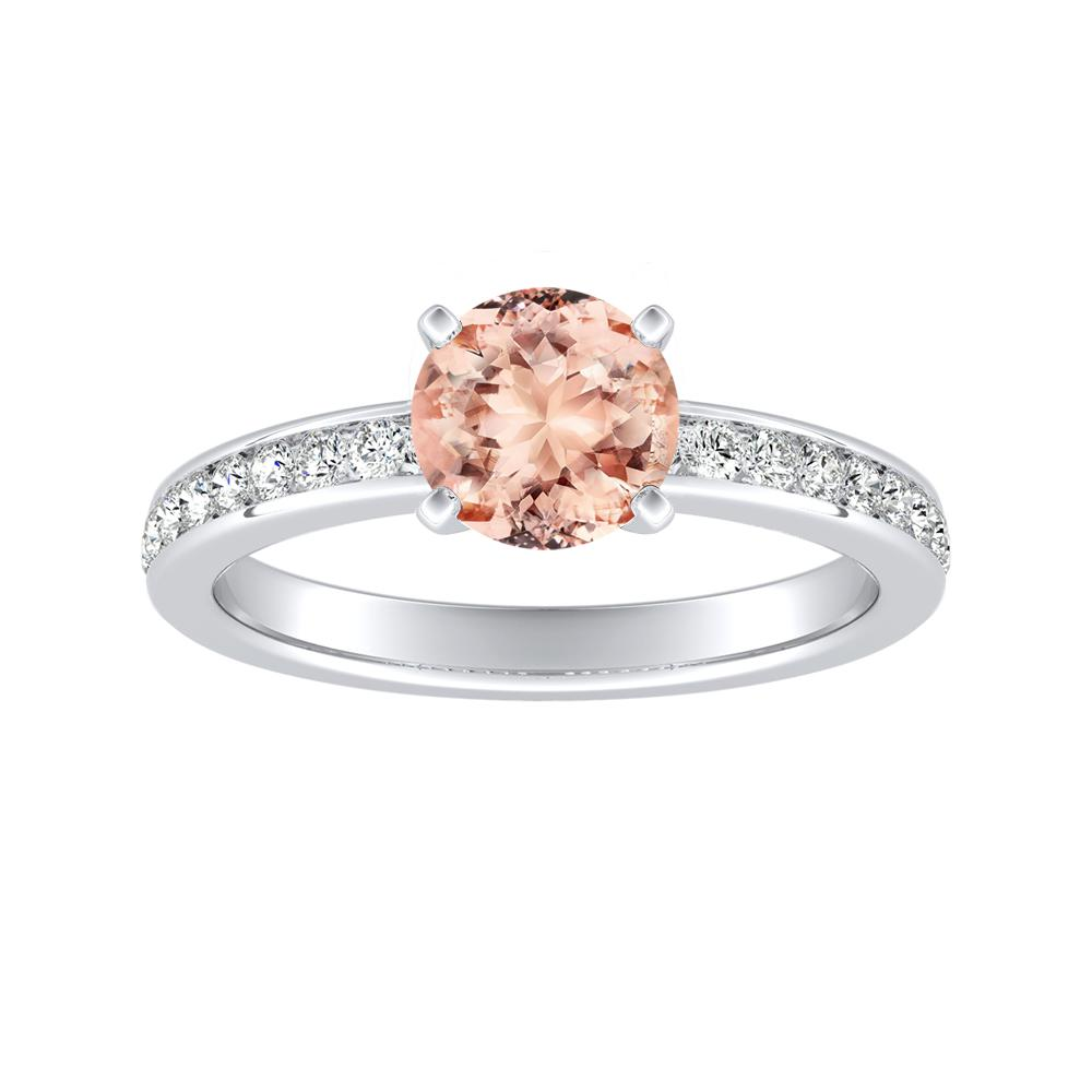 ALENA Classic Morganite Engagement Ring In 14K White Gold With 1.00 Carat Round Stone