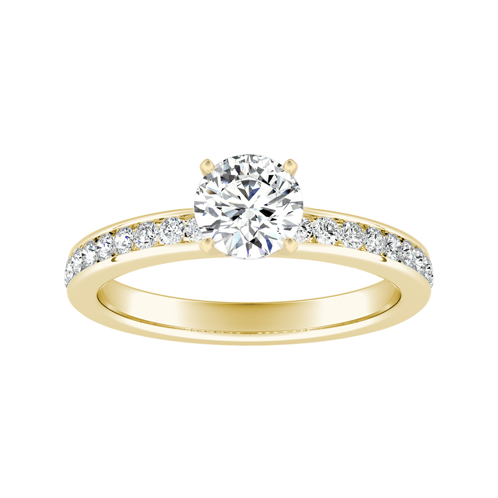 ALENA Classic Moissanite Engagement Ring In 14K Yellow Gold With 0.50 Carat Round Stone