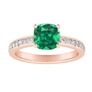 ALENA Classic Green Emerald Engagement Ring In 14K Rose Gold With 0.50 Carat Cushion Stone