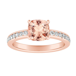 ALENA Classic Morganite Engagement Ring In 14K Rose Gold With 1.00 Carat Cushion Stone