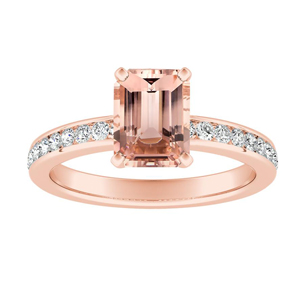 ALENA Classic Morganite Engagement Ring In 14K Rose Gold With 1.00 Carat Emerald Stone
