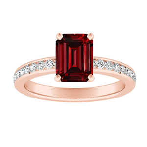 ALENA Classic Ruby Engagement Ring In 14K Rose Gold With 0.50 Carat Emerald Stone