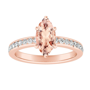 ALENA Classic Morganite Engagement Ring In 14K Rose Gold With 1.00 Carat Marquise Stone