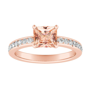 ALENA Classic Morganite Engagement Ring In 14K Rose Gold With 1.00 Carat Princess Stone