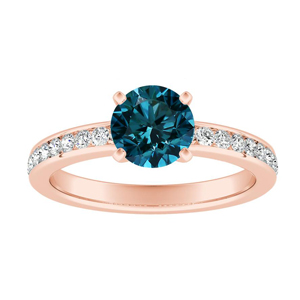 ALENA  Classic  Blue  Diamond  Engagement  Ring  In  14K  Rose  Gold  With  0.50  Carat  Round  Diamond