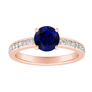 ALENA Classic Blue Sapphire Engagement Ring In 14K Rose Gold With 0.50 Carat Round Stone