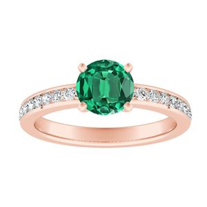 ALENA Classic Green Emerald Engagement Ring In 14K Rose Gold With 0.50 Carat Round Stone
