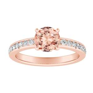 ALENA Classic Morganite Engagement Ring In 14K Rose Gold With 1.00 Carat Round Stone