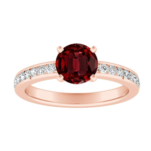 ALENA Classic Ruby Engagement Ring In 14K Rose Gold With 0.50 Carat Round Stone