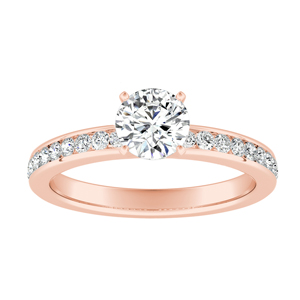 ALENA  Classic  Moissanite  Engagement  Ring  In  14K  Rose  Gold  With  0.50  Carat  Round  Stone