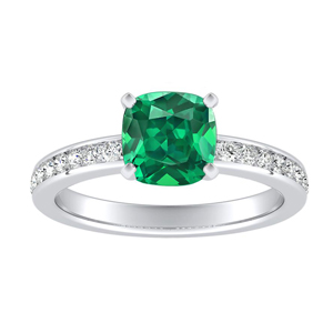 ALENA Classic Green Emerald Engagement Ring In 14K White Gold With 0.50 Carat Cushion Stone