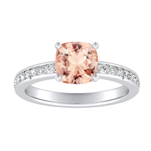 ALENA Classic Morganite Engagement Ring In 14K White Gold With 1.00 Carat Cushion Stone