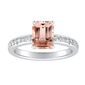 ALENA Classic Morganite Engagement Ring In 14K White Gold With 1.00 Carat Emerald Stone