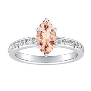 ALENA Classic Morganite Engagement Ring In 14K White Gold With 1.00 Carat Marquise Stone