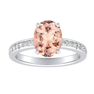 ALENA Classic Morganite Engagement Ring In 14K White Gold With 1.00 Carat Oval Stone