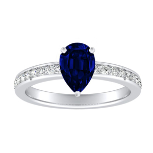 ALENA  Classic  Blue  Sapphire  Engagement  Ring  In  14K  White  Gold  With  0.50  Carat  Pear  Stone