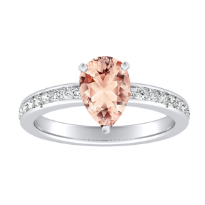 ALENA Classic Morganite Engagement Ring In 14K White Gold With 1.00 Carat Pear Stone