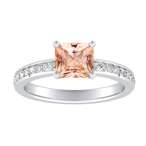 ALENA Classic Morganite Engagement Ring In 14K White Gold With 1.00 Carat Princess Stone