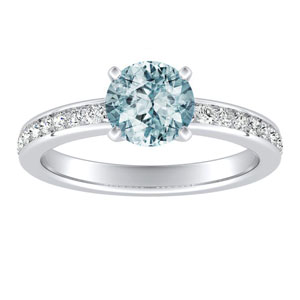 ALENA  Classic  Aquamarine  Engagement  Ring  In  14K  White  Gold  With  1.00  Carat  Round  Stone