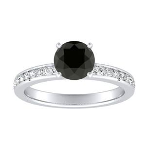 ALENA Classic Black Diamond Engagement Ring In 14K White Gold With 0.50 Carat Round Diamond