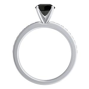 ALENA  Classic  Black  Diamond  Engagement  Ring  In  14K  White  Gold  With  1.00  Carat  Princess  Diamond