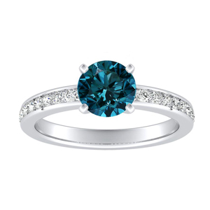 ALENA  Classic  Blue  Diamond  Engagement  Ring  In  14K  White  Gold  With  0.50  Carat  Round  Diamond