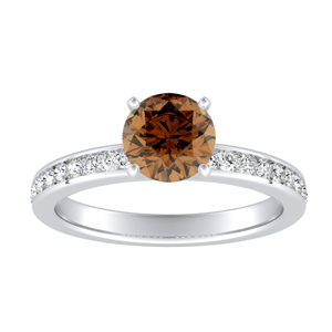 ALENA  Classic  Brown  Diamond  Engagement  Ring  In  14K  White  Gold  With  0.50  Carat  Round  Diamond