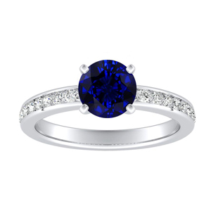 ALENA Classic Blue Sapphire Engagement Ring In 14K White Gold With 0.30 Carat Round Stone