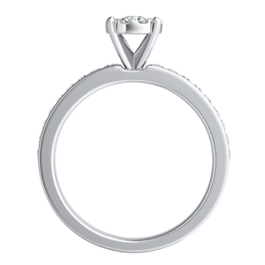 ALENA Classic Diamond Engagement Ring In 14K White Gold With Round Diamond In H-I SI1-SI2 Quality