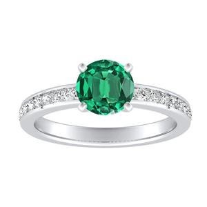 ALENA Classic Green Emerald Engagement Ring In 14K White Gold With 0.30 Carat Round Stone