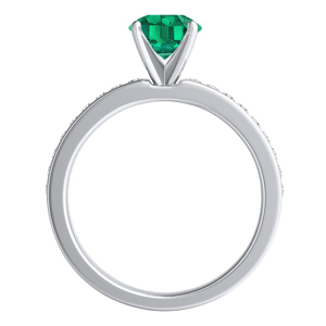 ALENA  Classic  Green  Emerald  Engagement  Ring  In  14K  White  Gold  With  0.50  Carat  Round  Stone
