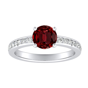 ALENA Classic Ruby Engagement Ring In 14K White Gold With 0.30 Carat Round Stone