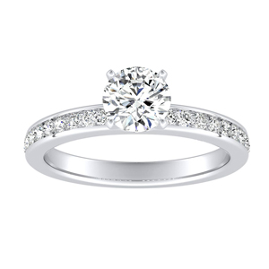 ALENA  Classic  Moissanite  Engagement  Ring  In  14K  White  Gold  With  0.50  Carat  Round  Stone