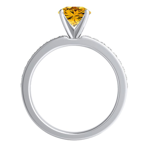 ALENA  Classic  Yellow  Diamond  Engagement  Ring  In  14K  White  Gold  With  0.50  Carat  Round  Diamond