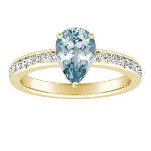ALENA  Classic  Aquamarine  Engagement  Ring  In  14K  Yellow  Gold  With  1.00  Carat  Pear  Stone
