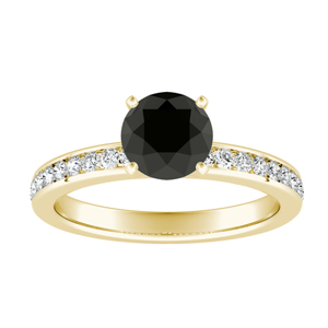 ALENA  Classic  Black  Diamond  Engagement  Ring  In  14K  Yellow  Gold  With  1.00  Carat  Round  Diamond