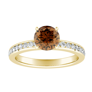 ALENA  Classic  Brown  Diamond  Engagement  Ring  In  14K  Yellow  Gold  With  0.50  Carat  Round  Diamond