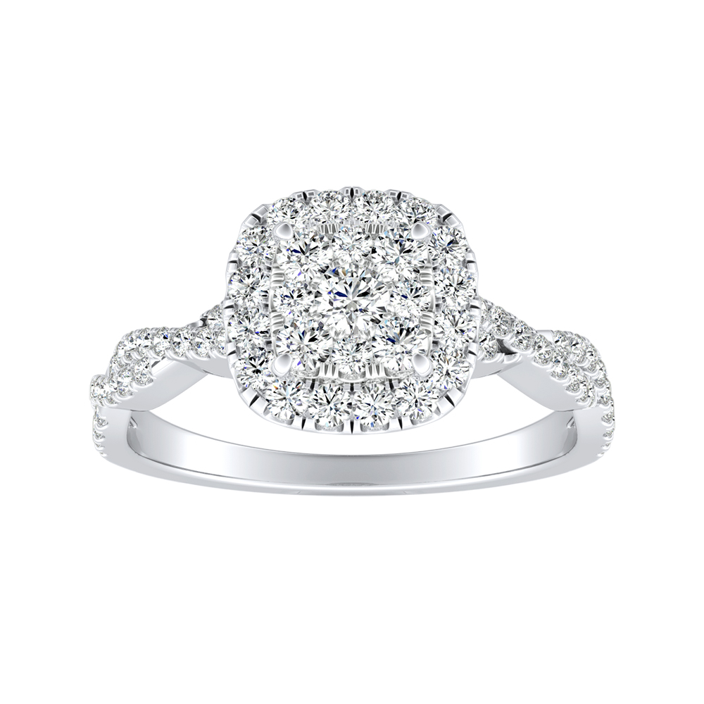 ALICE Halo Diamond Engagement Ring In 14K White Gold With Cushion Diamond In H-I SI1-SI2 Quality