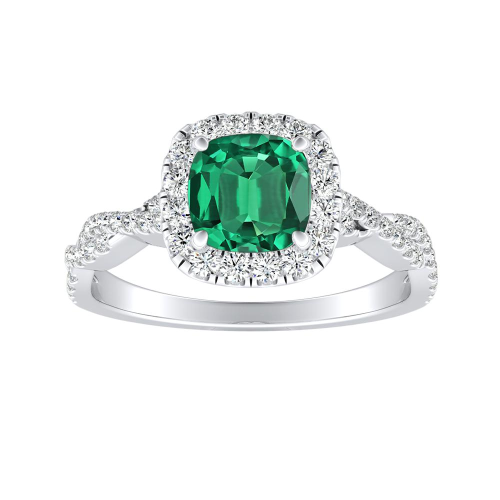 Alice Halo Green Emerald Engagement Ring In 14k White Gold With 0 75 Carat Cushion Stone