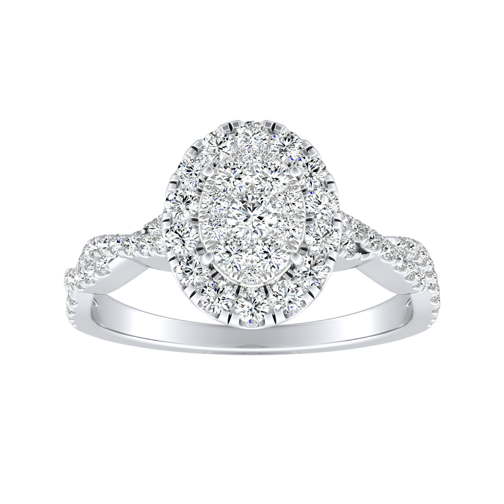 ALICE Halo Diamond Engagement Ring In 14K White Gold With Oval Diamond In H-I SI1-SI2 Quality