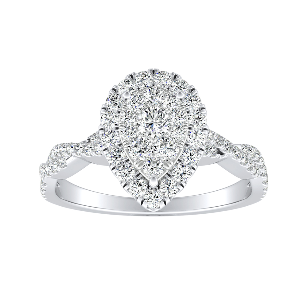 ALICE Halo Diamond Engagement Ring In 14K White Gold With Pear Diamond In H-I SI1-SI2 Quality