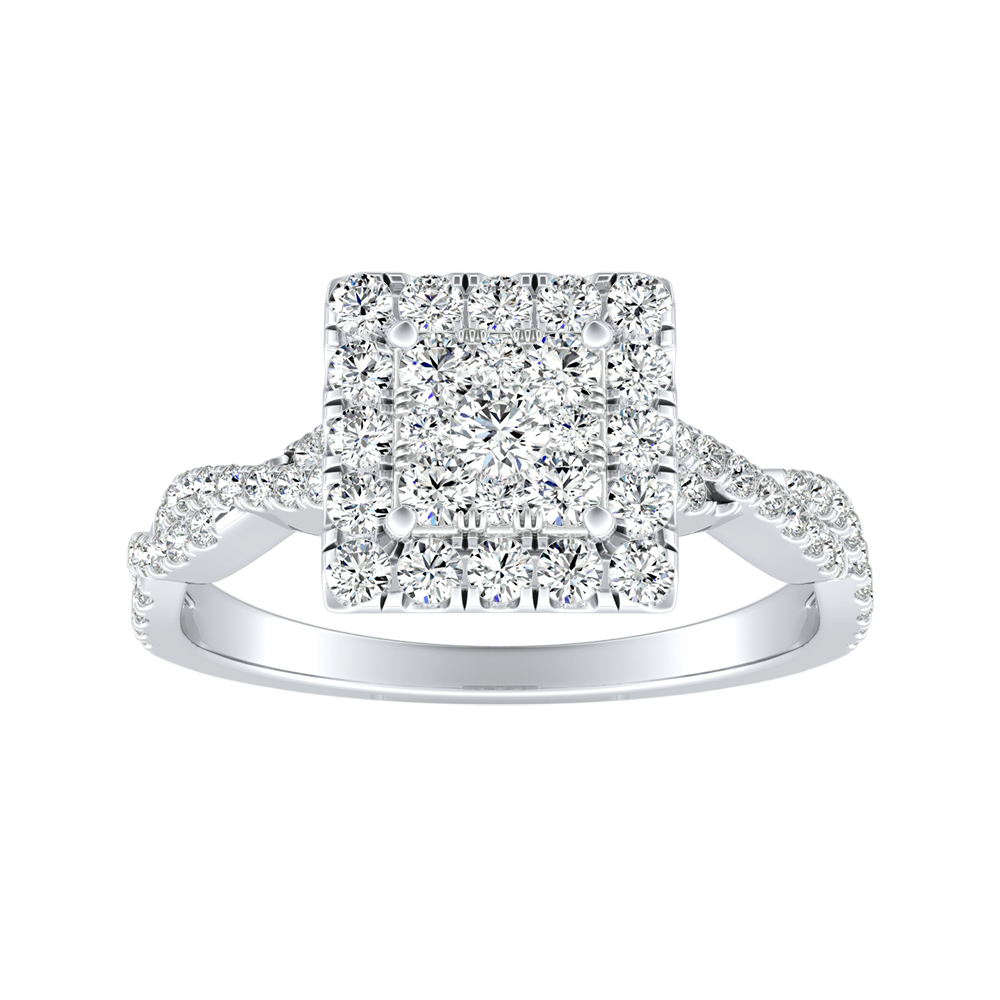 ALICE Halo Diamond Engagement Ring In 14K White Gold With Princess Diamond In H-I SI1-SI2 Quality