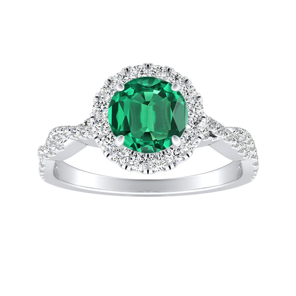 ALICE Halo Green Emerald Engagement Ring In 14K White Gold With 0.30 Carat Round Stone