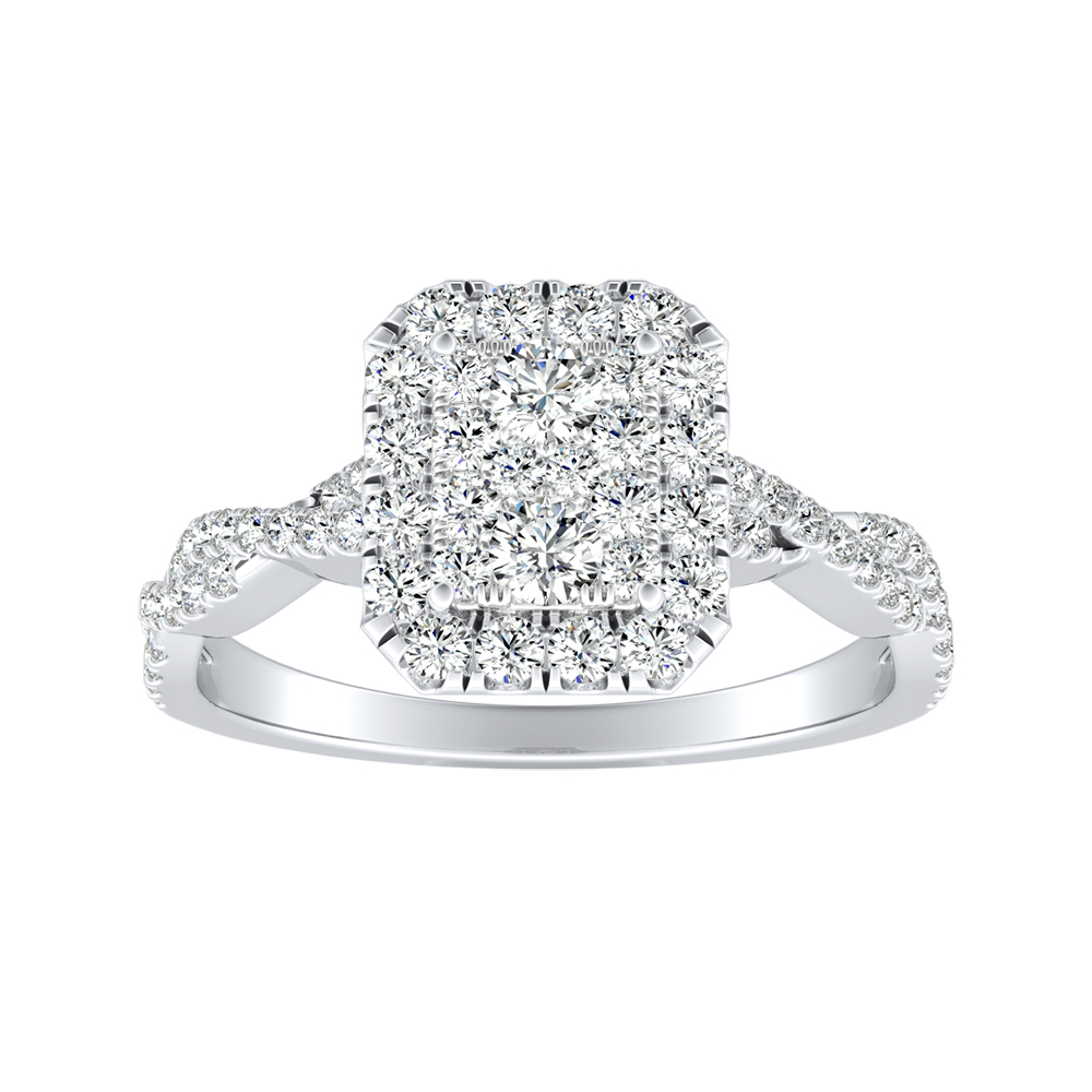 ALICE Halo Diamond Engagement Ring In 14K White Gold With Radiant Diamond In H-I SI1-SI2 Quality