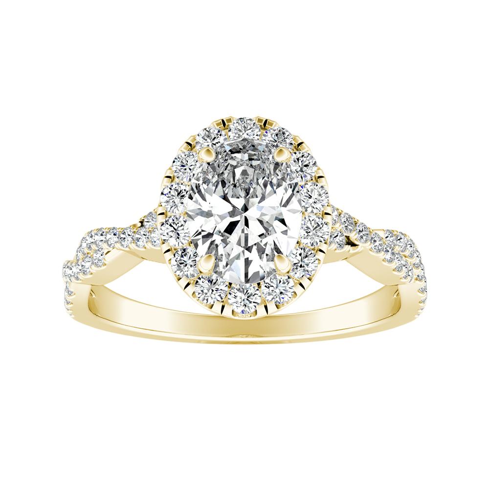 halo diamond engagement ring 14k yellow gold