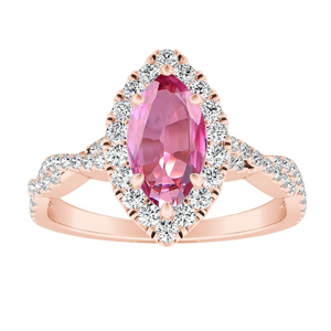 ALICE  Halo  Pink  Sapphire  Engagement  Ring  In  14K  Rose  Gold  With  0.50  Carat  Marquise  Stone